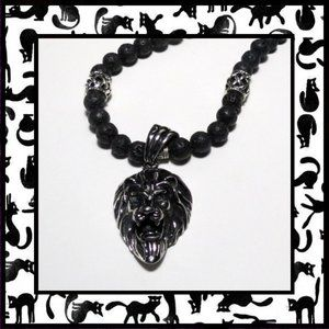 Lion Head Necklace with Black Lava Beads